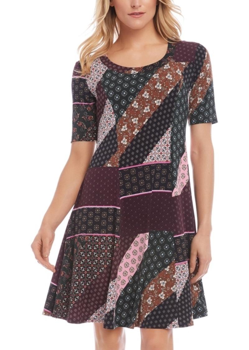Karen Kane Patchwork-Print A-Line Dress