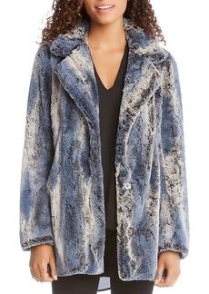 Karen Kane Patterned Faux Fur Coat