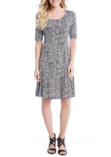 Karen Kane Pencil Sleeve Print A-Line Dress