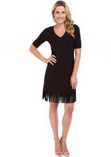 Karen Kane Pencil Sleeve V-Neck Fringe Dress