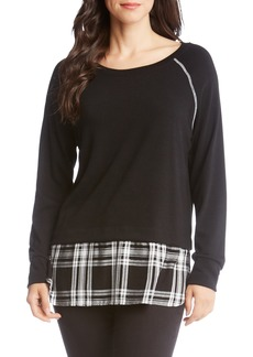 Karen Kane Plaid Hem Sweater