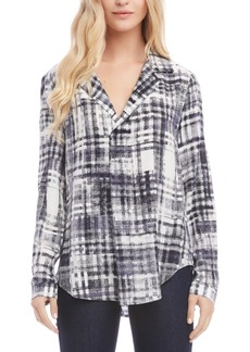Karen Kane Plaid Notched-Collar Top