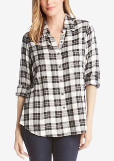 Karen Kane Plaid Roll-Tab Collared Shirt