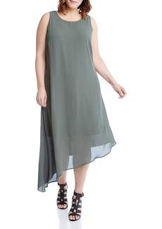 Karen Kane Plus Asymmetric Overlay Dress