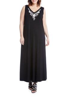 Karen Kane Plus Embroidered Boho Maxi Dress