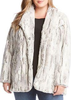 Karen Kane Plus Faux Fur Long-Sleeve Coat