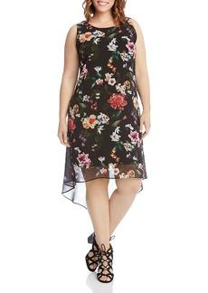 Karen Kane Plus Floral Print High/Low Dress