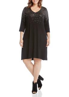 Karen Kane Plus Metallic Speckle Print Swing Dress
