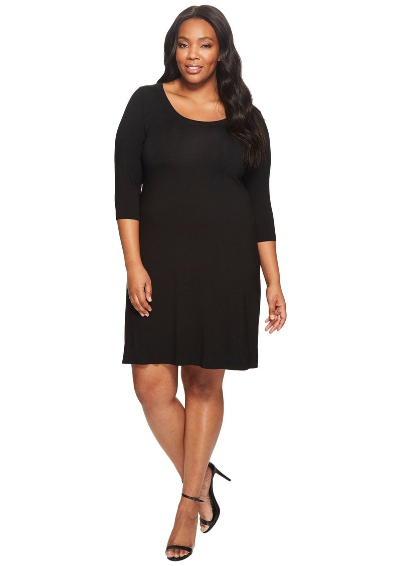 Karen Kane Plus Size Three Quarter Sleeve A-Line Dress