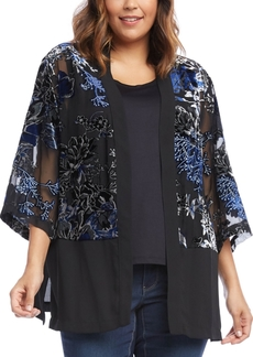 Karen Kane Plus Size Embroidered Semi-Sheer Kimono
