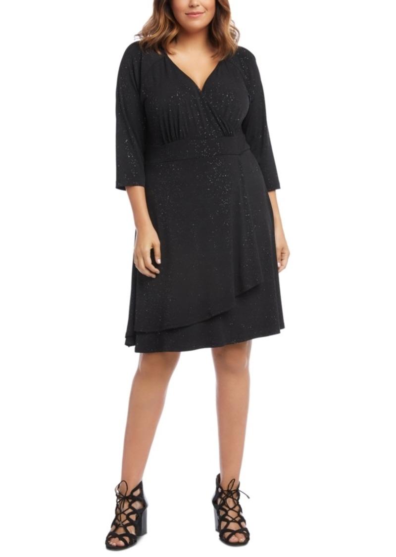 Karen Kane Plus Size Sparkle Faux-Wrap Dress