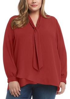 Karen Kane Plus Size Tie-Neck Crepe Top