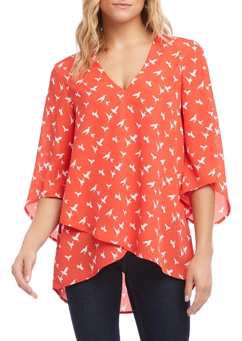 Karen Kane Print Angel Sleeve Crossover Top