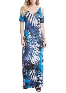Karen Kane Print Cold Shoulder Maxi Dress