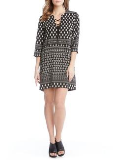 Karen Kane Print Lace-Up Shift Dress
