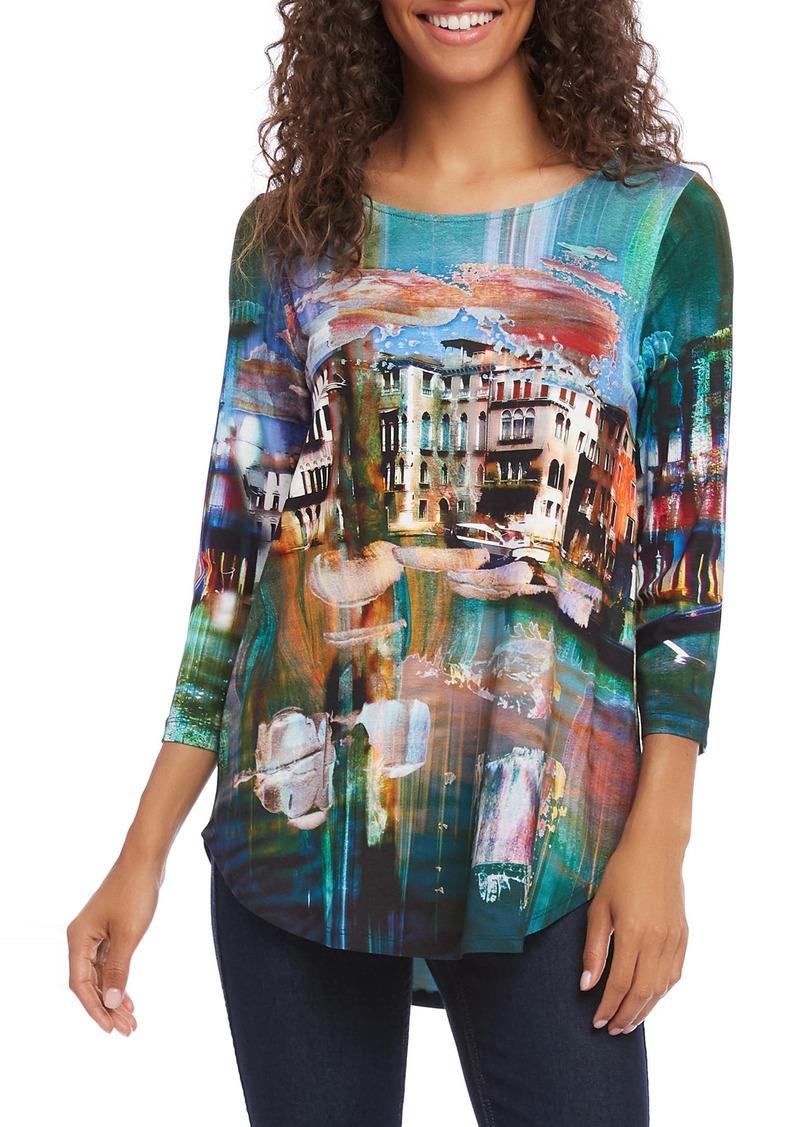 Karen Kane Print Shirttail Tee