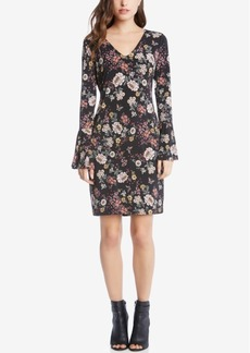 Karen Kane Printed Bell-Sleeve Dress
