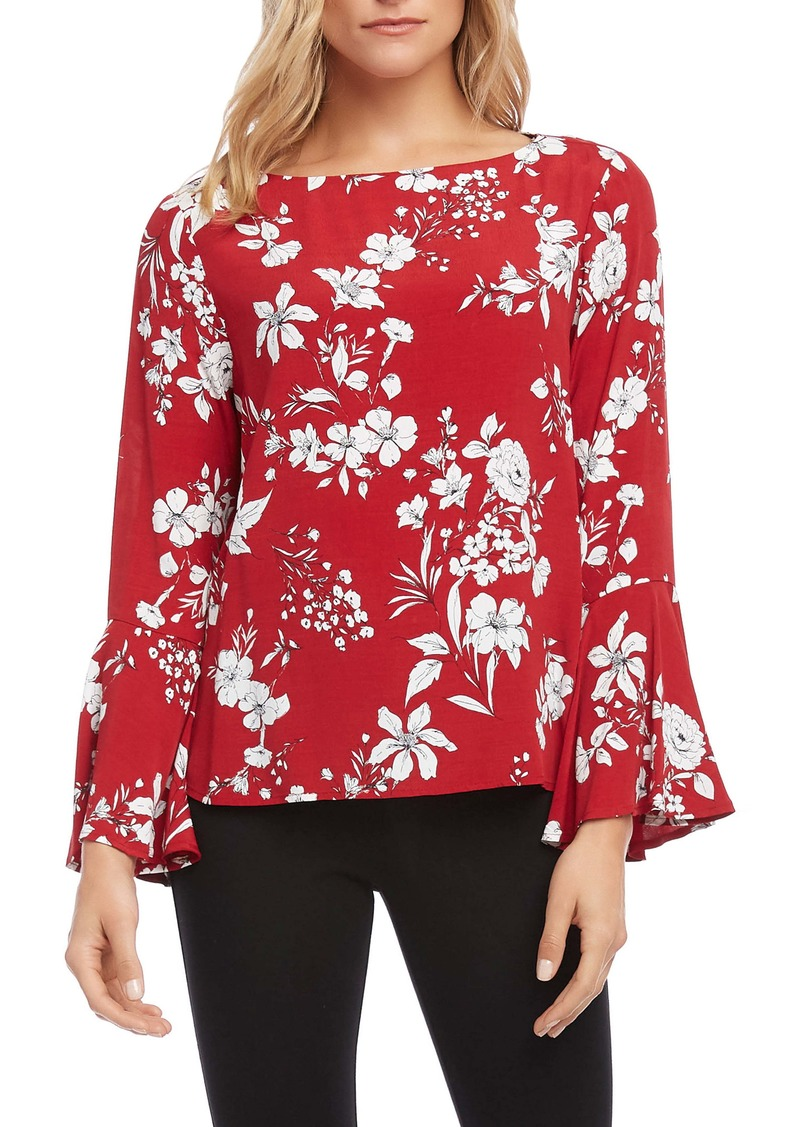 Karen Kane Printed Bell Sleeve Top