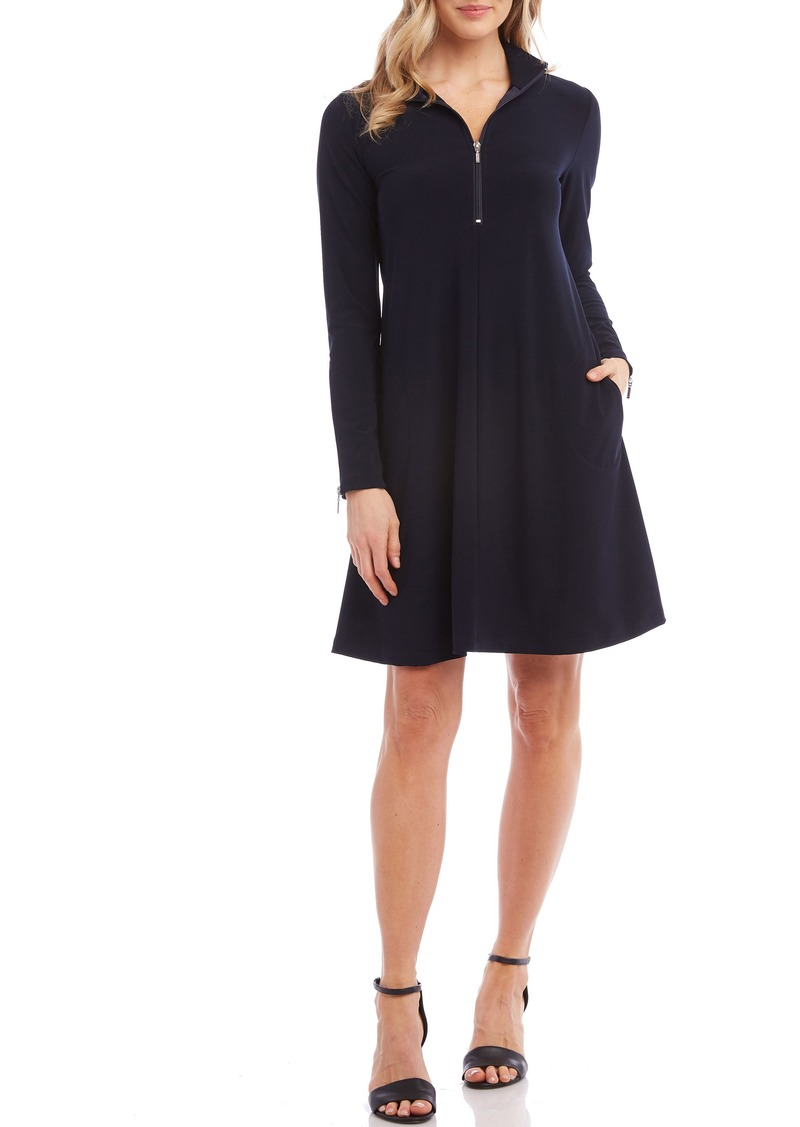 Karen Kane Quarter Zip A-Line Dress