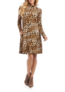 Karen Kane Quinn Leopard Print Long Sleeve Turtleneck Dress
