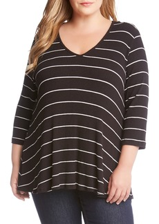 Karen Kane Ribbed Stripe Top (Plus Size)