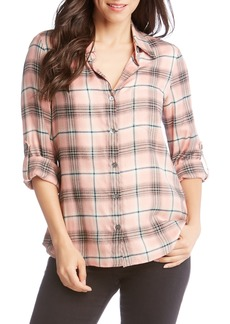 Karen Kane Roll Tab Plaid Shirt
