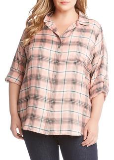 Karen Kane Roll Tab Plaid Shirt (Plus Size)