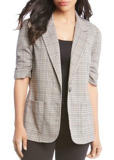 Karen Kane Ruched Sleeve Single-Button Plaid Blazer