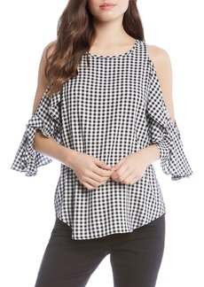 Karen Kane Ruffle Cold Shoulder Top
