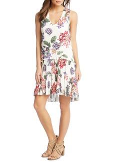 Karen Kane Ruffle Hem Floral Gauze Dress
