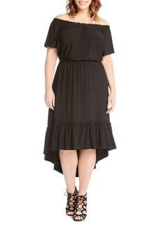 Karen Kane Ruffle Hem Off the Shoulder Dress (Plus Size)