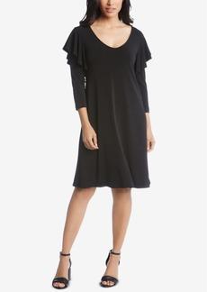 Karen Kane Ruffle-Shoulder A-Line Dress
