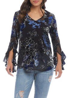 Karen Kane Ruffle Sleeve Burnout Top