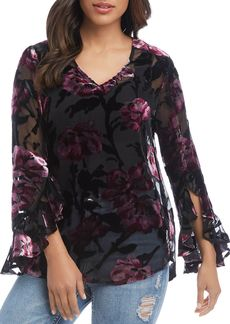 Karen Kane Ruffle-Sleeve Burnout Top