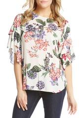 Karen Kane Ruffle Sleeve Floral Top