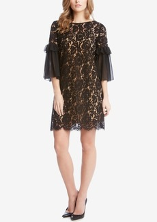 Karen Kane Ruffle-Sleeve Lace Dress