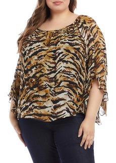 Karen Kane Ruffle Sleeve Top (Plus Size)
