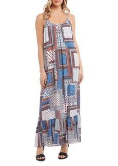 Karen Kane Ruffled-Hem Patchwork Maxi Dress