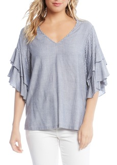 Karen Kane Ruffled Stripe Chambray Top
