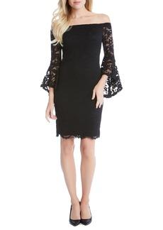 Karen Kane Samantha Lace Off the Shoulder Sheath Dress