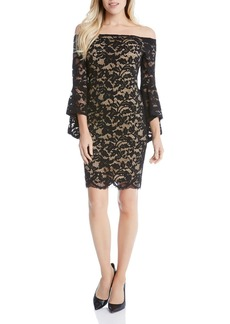 Karen Kane Samantha Off-the-Shoulder Bell Sleeve Lace Dress
