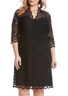 Karen Kane Scalloped Stretch Lace Dress (Plus Size)