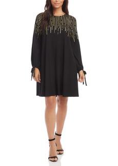 Karen Kane Sequin Tie Cuff Long Sleeve Dress