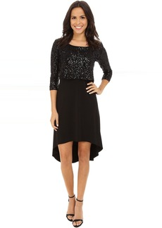 Karen Kane Sequin Top Hi-Lo Dress