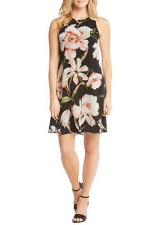 Karen Kane Sheer Floral Overlay Shift Dress
