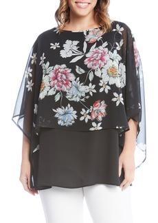 Karen Kane Sheer Floral Overlay Top (Plus Size)