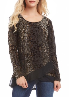 Karen Kane Sheer Hem Burnout Top