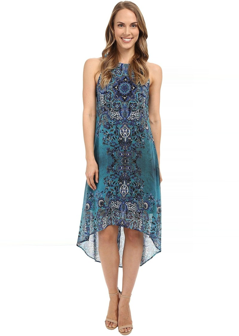 Karen Kane Sheer Print High-Low Hem Dress