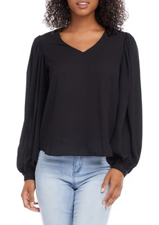 Karen Kane Shirred Balloon Sleeve Crepe Top