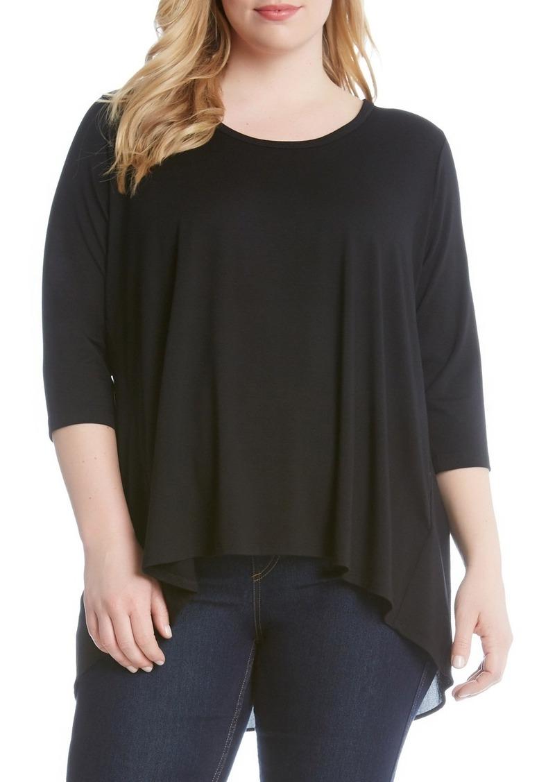 Karen Kane Shirred Contrast Back Top (Plus Size)